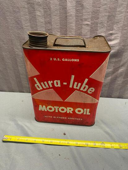 Dura-Lube 2 gallon oil can, top is dented