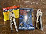 (2) new pair of Hanson Vice Grips and 4 pc precision pliers set