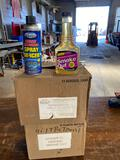 (12) new cans of spray de-icer and (12) bottles of smoke out formula
