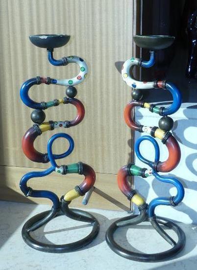 Whimisical Metal Candlesticks