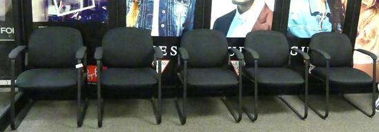 (5) Side Arm Black Upholstered Waiting Room Chairs