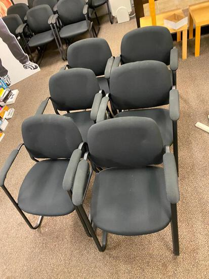 (6) Side Arm Black Upholstered Waiting Room Chairs