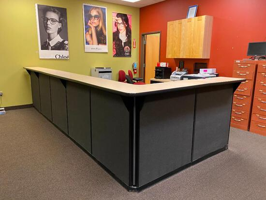 Modern Reception Desk with (4) Under Counter File Cabinets and (2) Under Desk Keyboard Trays