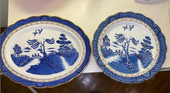 """Real Old Willow"" Booths China Platters (2)"