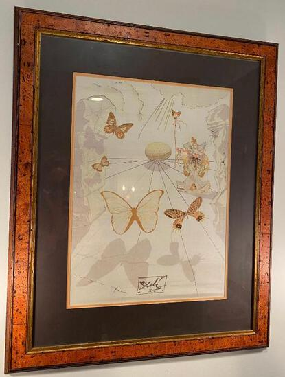 Framed Silk Scarf Signed By Salvadore Dali from 1950
