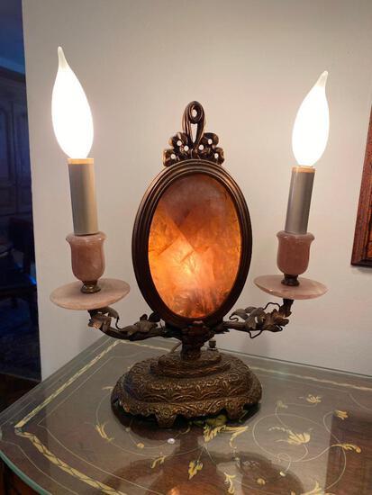 2 Light Antique Rose Quartz Lamps on Copper Colored Base (2)