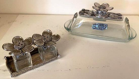 Pewter Butter Dish and Shakers