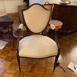 Cream upohlestered side chair