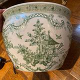green and white porcelain pot