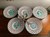 5 Salad Charger Plates with Silver Plate Serving Utencils