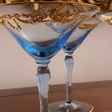 5 Delicate Blue Glass and Gold Martini Glasses