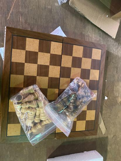 Wooden mini foldable chess/checkers set