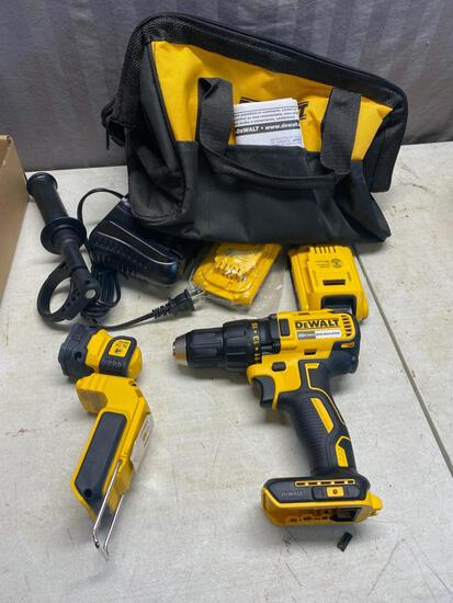 NEW Dewalt set, Drill, Light, Charger and 2 slim 20 volt batteries, and carry bag