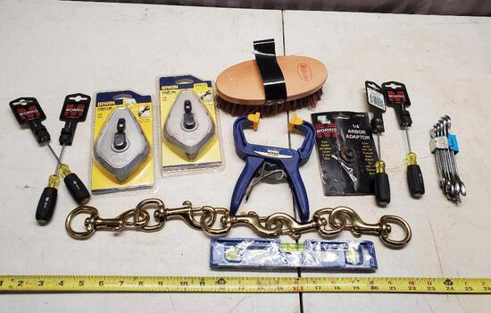 Chalklines, Carabiners, screwdrivers, clamp and more