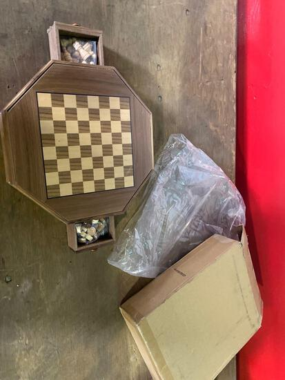 Small wooden chess/checkers set