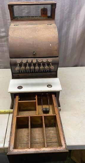 Vintage National Cash Register Wooden Cash Register, No key
