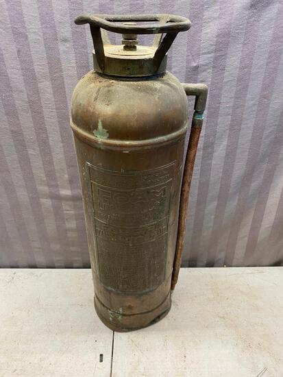 Vintage Brass Foam Fire Extinguisher, some contents inside, notice dents pictured