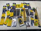 Flat of assorted NEW and Unused tools, drill bits, Allen wrenches and more
