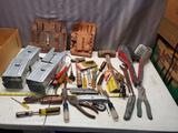 Large lot of assorted tools, tool pouches, sawhorse brackets and more