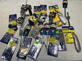 Lot of assorted tools, wrenches, bits, chalkline, utility knives and more