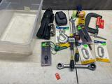 Lot of assorted tools, wrenches, bits, chalkline, toys and more