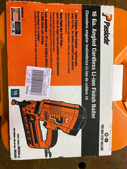 New in Box Paslode 16 gauge Angled Cordless Li-Ion Finish Nailer