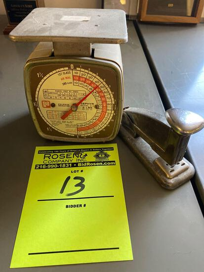 Small vintage mail scale and antique stapler
