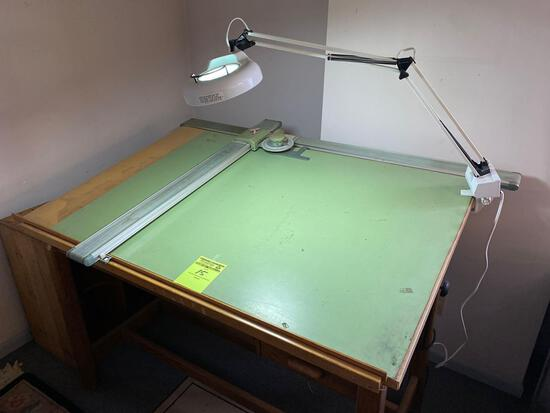 Vintage wooden drafting table w/ lamp.