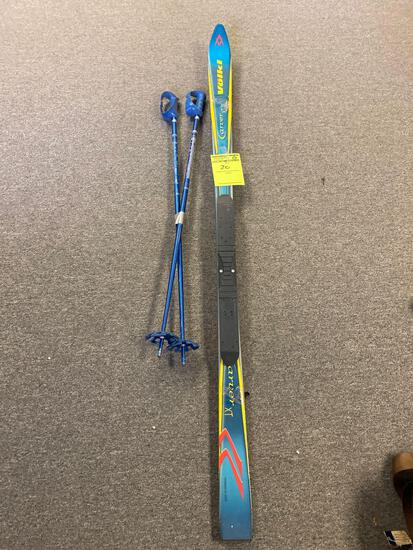 Pair of Volkl Carver II XT Snow Skis and poles