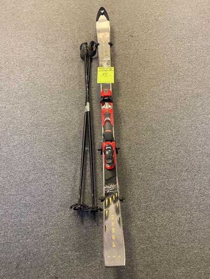Pair of Volant Power Snow Skis and poles
