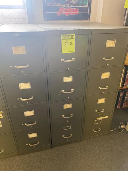 (3) 4 drawer metal file cabinets