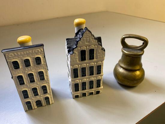 Pair of KLM Bols Amsterdam figurines and blueprint weight
