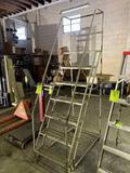 Alco-Lite aluminum rolling shop ladder approx 6ft
