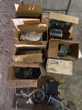 Cart load of (13) assorted electric motors. Some in box. Some not.