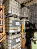 (6) large plastic empty chemical containers.