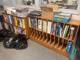 (2) wood book filers w/ contents.
