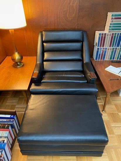 Vintage Black Vinyl Chair and Ottomon