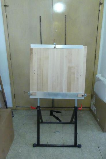 Wood Topped Folding Drafting Table with Rollers
