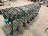 Instaflex 376 accordion conveyor on casters, missing one caster