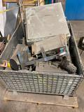 Metal bin with assorted control boxes and disconnects