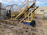 Large pile of scrap metal, pallet rack uprights, stairs and more. Heavy metal