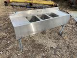 Small 3 bay stainless steel sink, 5 ft long, 29 inches tall