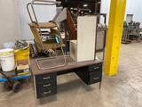 Metal desk and 2 chairs