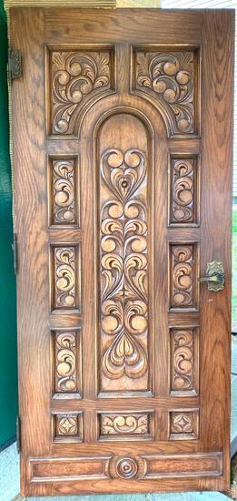 Vintage Carved Solid Wood Door with Antique Hardware