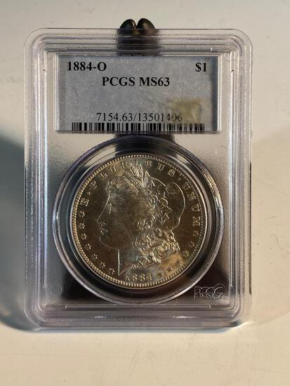1884O Morgan Silver Dollar graded MS63 by PCGS