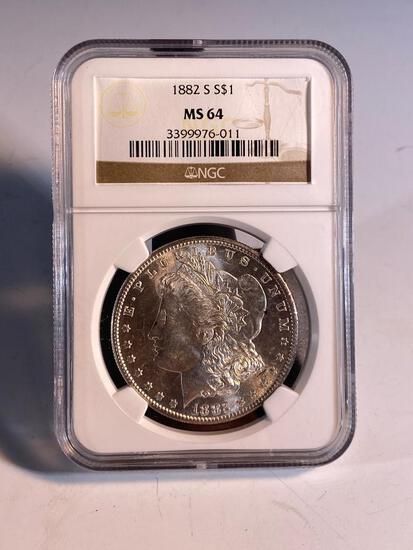 1882S Morgan Silver Dollar, graded MS64 by NGC