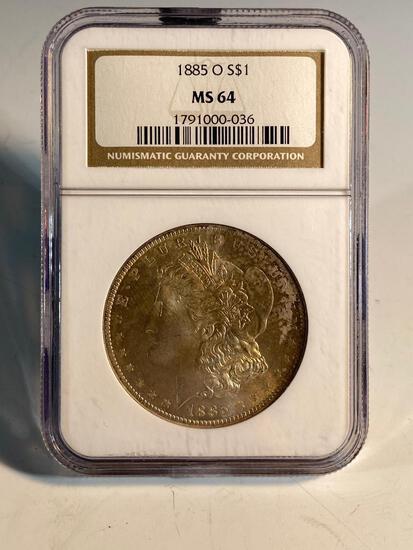 1885O Morgan Silver Dollar, graded MS64 by NGC