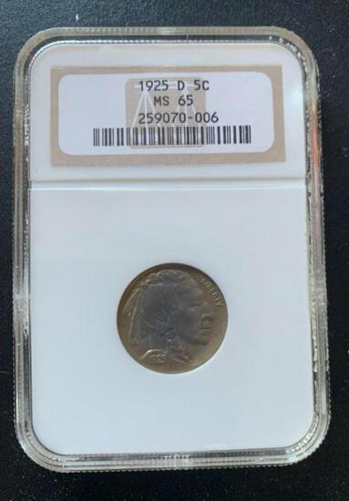 TOUGH COIN TO FIND, 1925D Buffalo Nickel, graded MS65 by NGC!