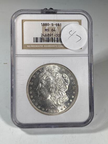 1880S Morgan Silver Dollar, graded MS64 by NGC