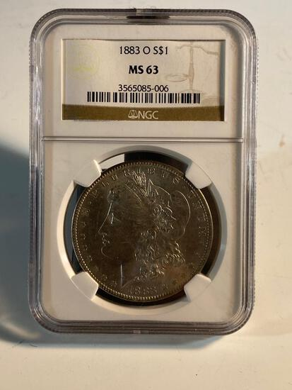 1883O Morgan Silver Dollar, graded MS63 by NGC